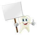 Tooth man holding a sign an illustration of cartoon character mascot Royalty Free Stock Images