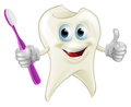 Tooth man holding a toothbrush an illustration of cartoon character mascot Royalty Free Stock Photos