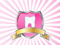 Tooth on shield - Banner Stock Photo