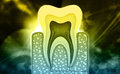 Tooth structure digital illustration of in digital background Stock Images