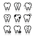 Tooth , teeth  icons set Royalty Free Stock Image
