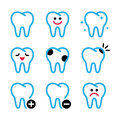 Tooth teeth icons set in color stomatology dentist concept blue and white with reflection isolated on white Stock Photos