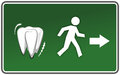 Toothache emergency exit sign with figure scared of dentist Stock Image