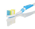 Toothbrush close up closeup of head of on white background Royalty Free Stock Photos