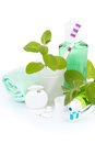 Toothbrush with toothpaste and fresh leaves of mint Royalty Free Stock Photo