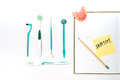 Toothbrush and toothpaste from top view Royalty Free Stock Photo