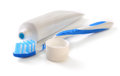 Toothbrush and tube of toothpaste Royalty Free Stock Photo