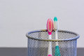 Toothbrushes with colourful palce in the metal basket Royalty Free Stock Photos