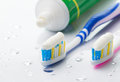 Toothbrushes and toothpaste Royalty Free Stock Photo