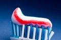 Toothpaste toothbrush closeup macro detail Royalty Free Stock Image