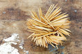 Toothpick bundle of on a wooden background Royalty Free Stock Images