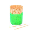 Toothpicks in a green box isolated on a white Royalty Free Stock Photo
