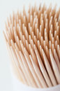 Toothpicks macro shot of wooden package Royalty Free Stock Images