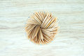 Toothpicks small made from wooden inserted into plastic box spheres shape Royalty Free Stock Photography