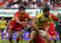 Top 14 rugby match USAP vs ASM Clermont Stock Photo