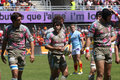 Top 14 rugby match USAP vs Stade Francais Stock Photo