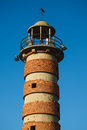 Top of Belem lighthouse with brick rings around tower in Lisbon Portugal Stock Photography