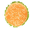 Top of big hamburger on white background Royalty Free Stock Images