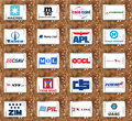 Top biggest container shipping companies logos and vector collection of icons of services on white tablet on rusty wooden Royalty Free Stock Photography