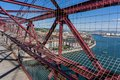 On top of the bizkaia suspension bridge detailed view in portugalete Stock Photography