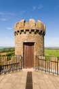 Top of the broadway tower on old located on hill in cotswolds england Stock Image