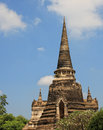 Top of Buddhist temples in Ayuthaya, Thailand Royalty Free Stock Photo
