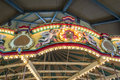 Top of a carossel colorful carousel as part merry go around for children at entertainment area Royalty Free Stock Photo