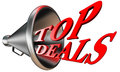 Top deals red word in megaphone Royalty Free Stock Photo