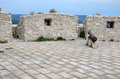 Top of the defence tower monte sant angelo castle italy Stock Photography