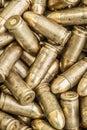 Top detail macro view of large group of gun bullets Royalty Free Stock Photo