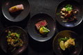 Top Down Shot of Different Plates of Japanese Dishes Royalty Free Stock Photo