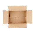 Top down view of open empty cardboard box isolated on white Stock Image