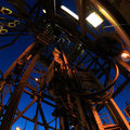 Top drive system and drilling rig derrick with fish eye angle perspective square Stock Images