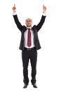 Top earner businessman with dollar sign glasses standing and cheering Stock Image