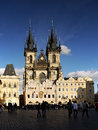 Top europe city prague landmark the most beautiful church in tyn church the old town square in czech republic heritage unesco Royalty Free Stock Images