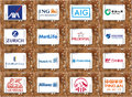 Top famous insurance companies logos and brands collection of of most popular on white tablet on rusty wooden background Stock Photos