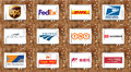 Top famous postal shipping companies logos and vector Royalty Free Stock Photo