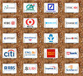 Top global banks brands and logos group of of famous worldwide on white tablet on rusted wooden background like deutsche bank hsbc Stock Image