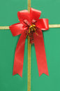 Top of green gift box with red bow Stock Images