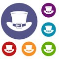 Top hat with buckle icons set