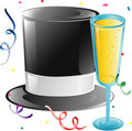 Top hat and Champagne Royalty Free Stock Photos