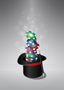 Top hat chips casino illustration of of the magic with Royalty Free Stock Photography
