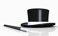 Top hat and conjuring stick black with white band isolated on white background Royalty Free Stock Photos