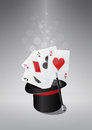 Top hat poker illustration of of the magic with aces Stock Image