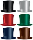 Top hat a selection in black gray red green blue and brown colors Stock Photography