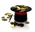 Top hat trick with coins conjuring Royalty Free Stock Image