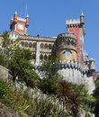The top of kings Pena National Palace in Sintra, Portugal Royalty Free Stock Images