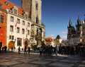 Top landmark unesco city prague tourists waiting in front of the oldest medieval astronomical clock in the world it is one of the Royalty Free Stock Images