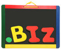 Top Level Domain Dot BIZ On Chalkboard Royalty Free Stock Photography