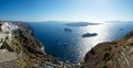 Top mountain santorini white walls city located fira its terrace offers magnificent view caldera Stock Images